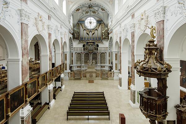 Innenraum St. Anna Kirche Augsburg als Beispielbild für Denkmalpflege