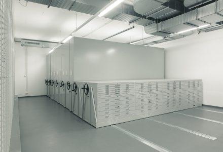 Fahrregalanlage im Museumsdepot der Kunsthalle Mannheim